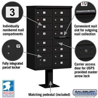 Salsbury Cluster Mailbox Unit+Pedestal. USPS Access, 13 B Size Doors in Black