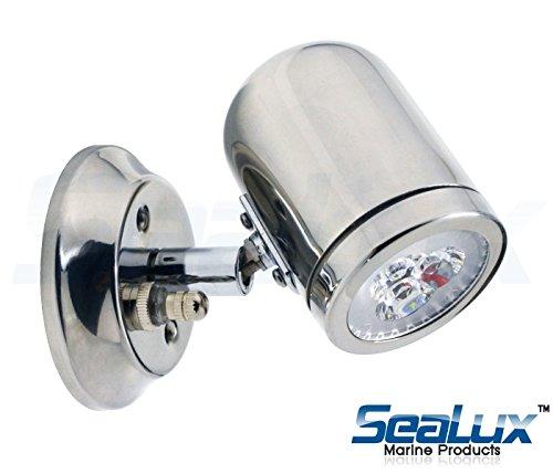 SeaLux Marine Stainless Steel Halogen pivoting Reading Light - 12VDC/10W LED Lighting MR3 LED Bulb, Warm White HALOGEN for boat, RV, caravan