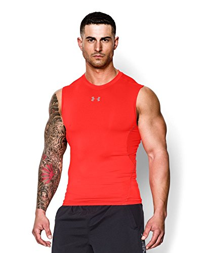 Under Armour Men's UA HeatGear® Armour Sleeveless Compression Shirt Large BOLT ORANGE