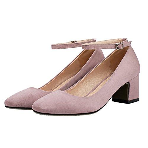 AIYOUMEI Damen Geschlossen Knöchelriemchen Pumps mit Schnalle und 5cm Absatz Chunky Heel Bequem Sommer Wildleder Schuhe Lila