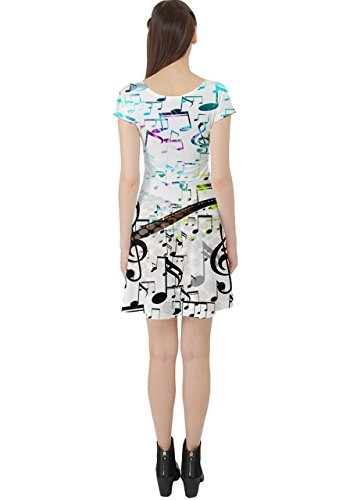 Clef Black Notes Cap Womens with Blue Dress Pattern CowCow Sleeve Music Notes Treble 7OYvYwqa