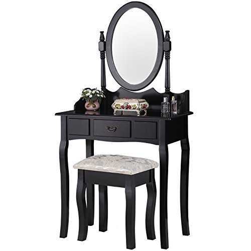Mecor Vanity table Makeup Set Dressing Table with Stool/Drawers and Oval Mirror ,Black (1 Drawer)