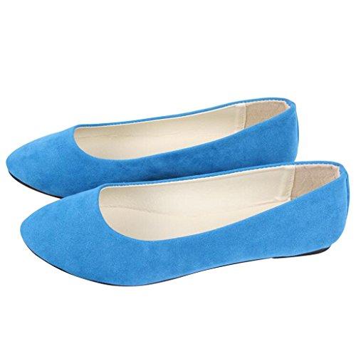 Lieber Zeit Frauen Flache Schuhe Bequeme Slip On Spitz Ballerinas Himmelblau
