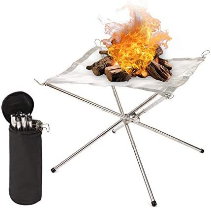 Outdoor Fire Pits Patio Upgrade Foldable Fire Pits 22 Inch Camping Stainless Steel Mesh Fireplace,Foldable Fire Pit For Outdoor Camping Backyards,Included Carrying Bag