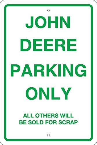 Liz66Ward John Deere Parking Only Sign Metal Aluminum Sign Metal Wall Plaque Tin Sign 8 x 12