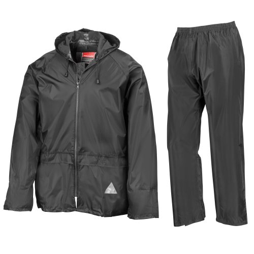 Result Mens Heavyweight Waterproof Rain Suit (Jacket & Trouser Suit) (S) (Black)