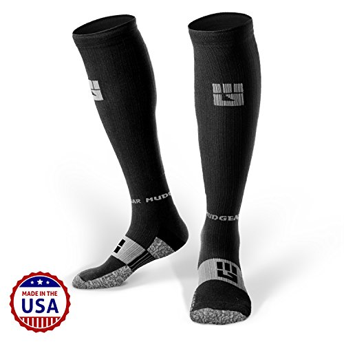 MudGear Compression Socks - Men's and Women's Running Socks Made in USA for Outdoor Sports Performance & Recovery - 1 Pair (Black/Gray, Med)