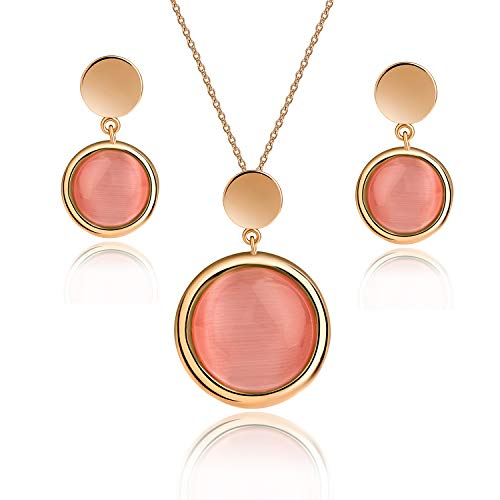 EVEVIC Cat's Eye Stone Necklace Earrings Set for Women Girls 18K Gold Plated Gemstone Jewelry Sets (Pink)