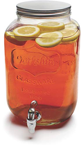 Circleware 66944 Sun Tea Mini Mason Jar Glass Beverage Dispenser with Metal Lid Glassware For Water, Juice, Beer, Wine, Liquor, Kombucha Iced Punch & Best Cold Drinks Classic Yorkshire 1 Gallon