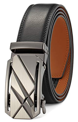 Men's Belt Ratchet Dress Belt with Automatic Buckle Brown/Black-Trim to Fit-35mm wide(Up to 36