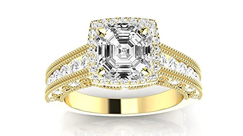 1.73 Carat GIA Certified 14K Yellow Gold Vintage Halo Asscher Cut Diamond Engagement Ring Milgrain (0.98 Ct H Color VVS1 Clarity Center)