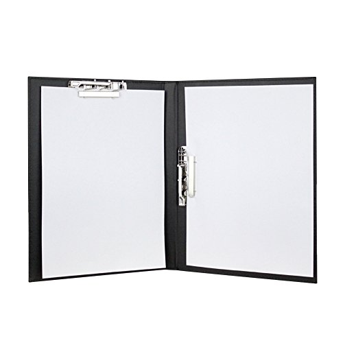 Business PU Leather Folder Profile Clipboard, Padfolio Portfolio A4 Size Resume Paper Organizer Clip Conference Tablet Writing Pad
