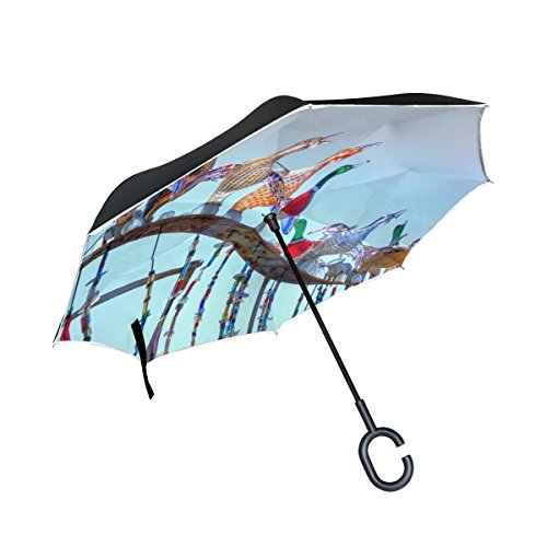 DNOVING Double Layer Inverted Glass Sculpture Symbol Italy Monument Art Umbrellas Reverse Folding Umbrella Windproof Uv Protection Big Straight Umbrella For Car Rain Outdoor With C-shaped Handle by DNOVING