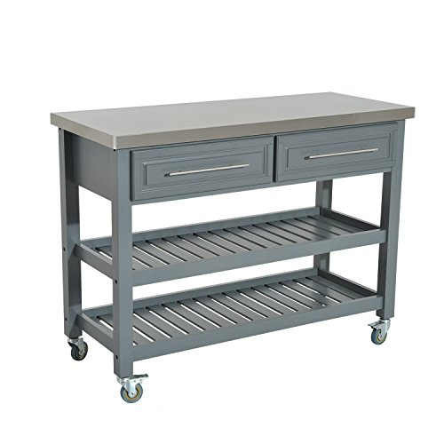 "HOMCOM 47"" 3 Tier Grey Rolling Kitchen Cart with Stainless Steel Top, Shelves, Drawers"