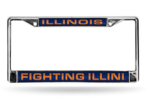 Rico Industries NCAA Illinois Illini Laser Cut Inlaid Standard Chrome License Plate Frame