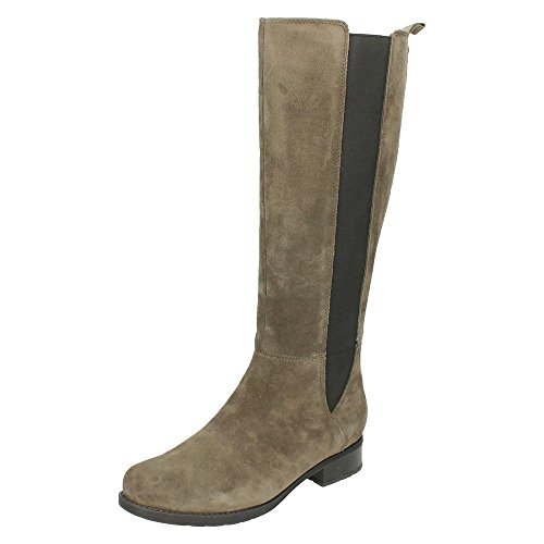 Clarks 261218424 - Stivali Alti da Donna Grigio (Grey Suede)