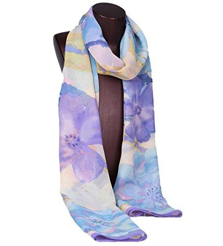 Grace Scarves 100% Silk Scarf, Oblong, Georgette, Botanical Dream, (Lavender Silk Scarf)