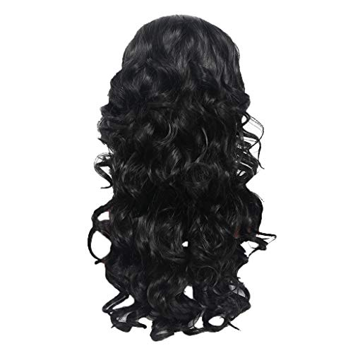 FeiFei66 New Women's Fashion Wig Black Soft Synthetic Hair Long Rose Inner Net Wigs Wave Curly Wig,Approx.30inch ()