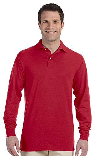 Jerzees Men's SpotShield Long Sleeve Polo Jersey, true red, Small