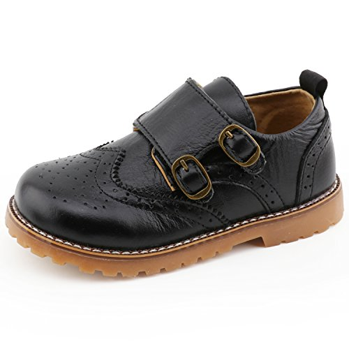 CCTWINS KIDS Toddler Little Kid Girl Boy Dress Oxford Leather Shoe(G9771black/velcro30)