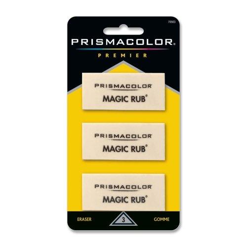 Prismacolor Magic Rub Eraser - Lead Pencil Eraser - Non-marring, Non-smudge, Smear Resistant - Vinyl - 3/Pack - White