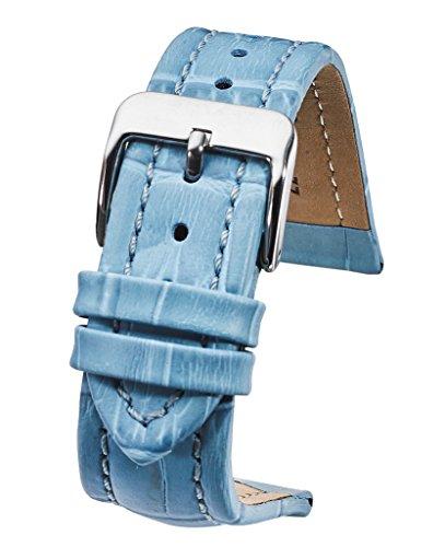 Blue Genuine Alligator Watch - Genuine padded leather watch band in Alligator grain finish - Baby Blue -18mm