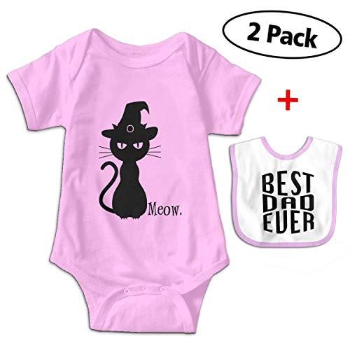 Black Cat Halloween Unique Baby Romper Bodysuit Onesie + Bibs Gift Set
