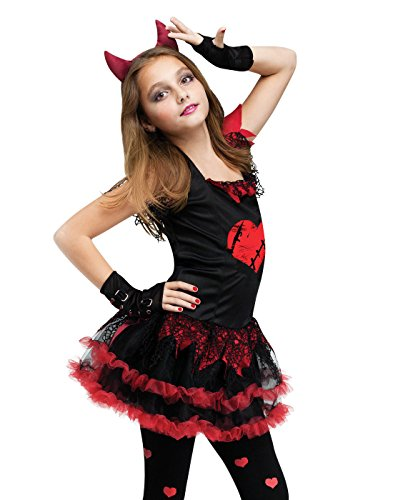 [Fun World Devil Diva Girl's Costume Red/Black Medium (8-10)] (Devil Costume For Girls)