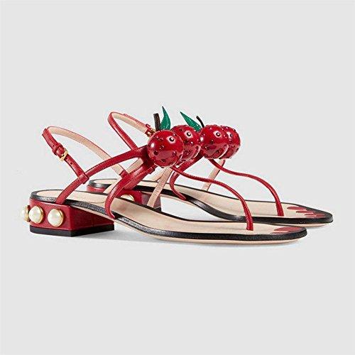 Sra. Xia perlas de cereza sandalias sandalias de tiras de las mujeres zapatos romanos con la solapa salvaje gruesa Red