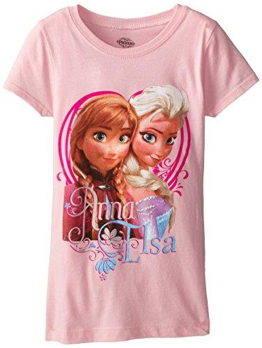 Disney Frozen Little Girls' Anna and Elsa Glitter T-Shirt, Light Pink, 4 - Continental Girls T-shirt
