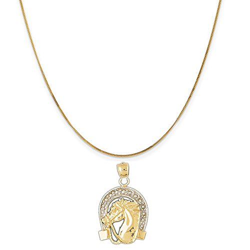 14k Two-Tone Gold Horse Shoe and Horse Pendant on a 14K Yellow Gold Curb Chain Necklace, 20