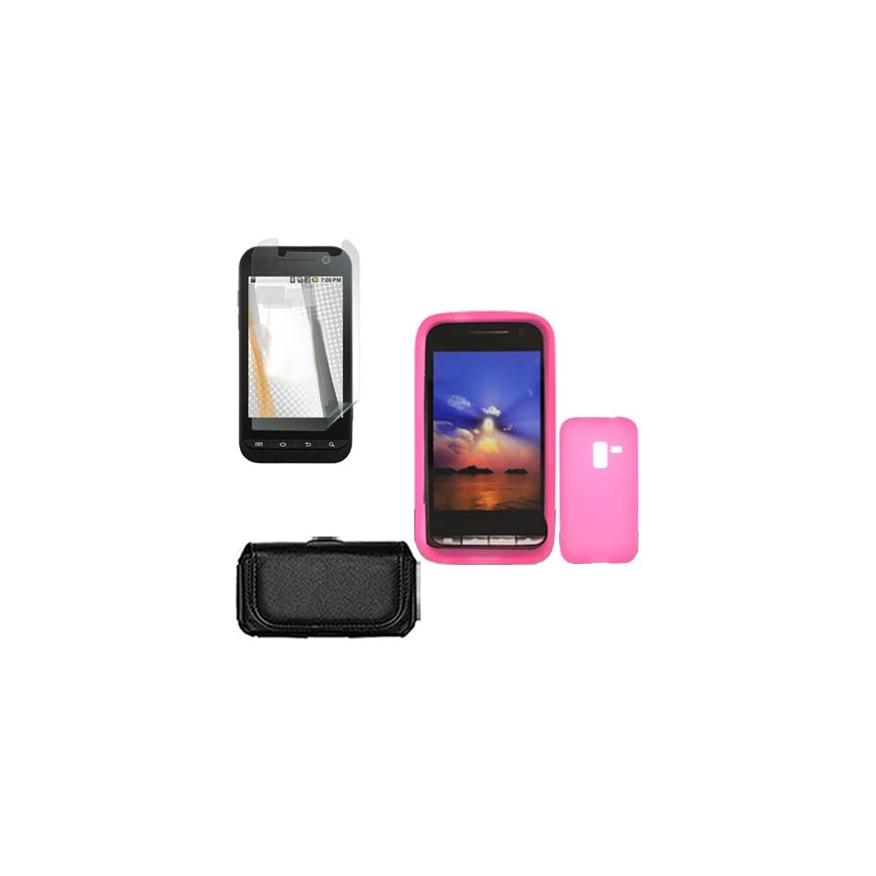 Conquer 4G D600 Combo Solid Hot Pink Silicone Skin Case Faceplate