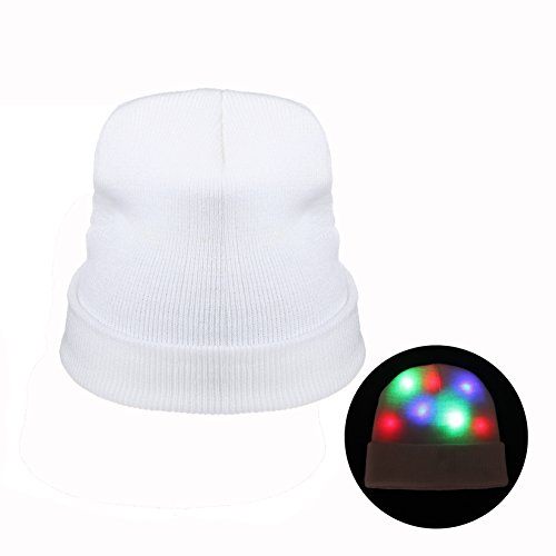Light Up Christmas Costumes (ZPTONE LED Hat Light Up Costume Colorful Flashing White Knit Hat Rave Lights Halloween Costume Party Favors Light Up Toys Novelty Christmas Gift)