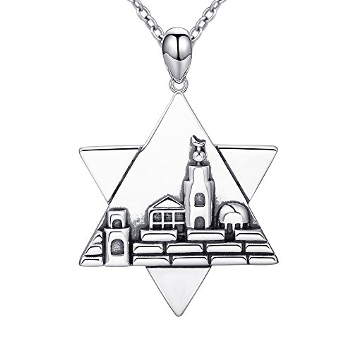 - Apotie 925 Sterling Silver Charm Retro Star of David Pendant Necklace Gifts Jewelry for Women