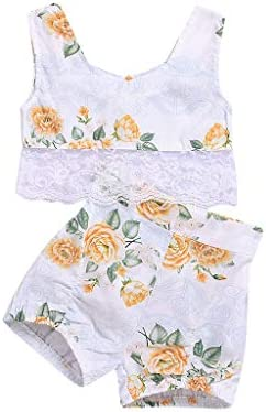 Newmao Toddler Girls Sleeveless Flower PrintLace Patchwork Vest Top+Shorts Set Outfits / Newmao Toddler Girls Sleeveless Flower PrintLace Patchwork Vest Top+Shorts Set Outfits