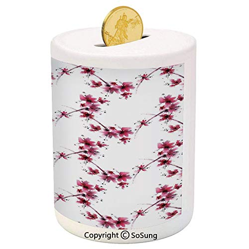 SoSung Asian Decor Ceramic Piggy Bank,Watercolors Petal Flower Oriental Style Ethnic Native Floral Pattern with Twigs Artful Work 3D Printed Ceramic Coin Bank Money Box for Kids & Adults,Red White
