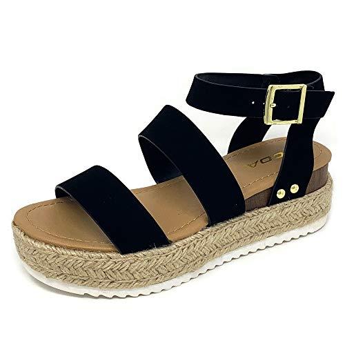 SODA Top Shoe Bryce Open Toe Buckle Ankle Strap Espadrilles Flatform Wedge Casual Sandal (8.5 M US, Black NBPU) (Brands Top Shoes)