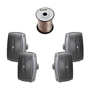 yamaha outdoor speakers. yamaha ns-aw350b 2-way indoor/outdoor speakers - black (4 + amazonbasics speaker wire) outdoor
