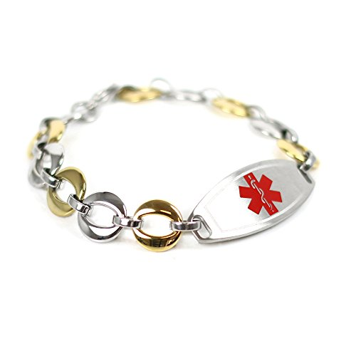 (My Identity Doctor Custom Medical ID Bracelet with Free Engraving, 1.5cm Gold Tone Steel Links - Red | Made in USA)