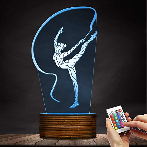 Novelty Lamp, 3D Led Lamp Rhythmic Gymnastics Night Light Optical Illusion Remote Control 15 Colors with USB Charging Interior Lighting Children's Birthday Present New Year and Anniversary,Ambient Li by LIX-XYD (Image #4)