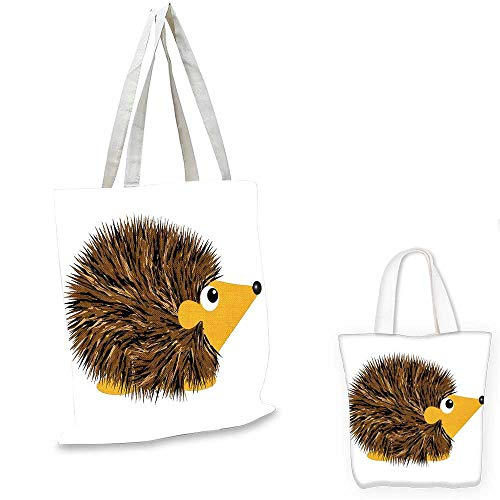 (Hedgehog shopping bag storage pouch Cartoon Animal with a Happy Smile on Its Face Hedgehog Illustration Spikes funny reusable shopping bag Brown Earth Yellow. 13