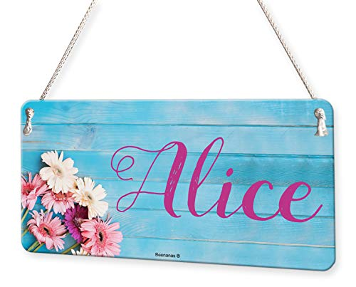 (Flowers On Wood Girls Personalised Childs Bedroom Door Sign Name Plaque )