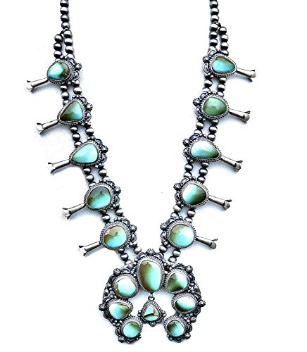 Genuine Squash Blossom Necklace and Earrings Set, Natural Royston Turquoise, 925 Sterling Silver, Artist Thomas Francisco Signed and Hallmarked, Navajo Native American USA Handmade, One of a Kind ()