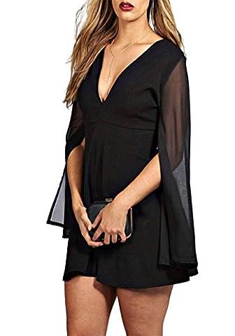 KISSMILK Womens Plus Size Chiffon Split Sleeve V Neck Dress(US14,Black) - Hot Sexy Black Formal Dress