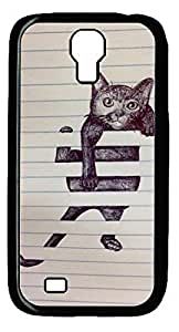 Abstract Cat DIY Hard Shell Black Designed For Samsung Galaxy S4 I9500 Case