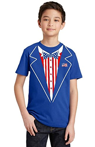 USA Tuxedo 4th of July Patriotic Youth T-Shirt, Youth X-Large, (Patriotic Chick)