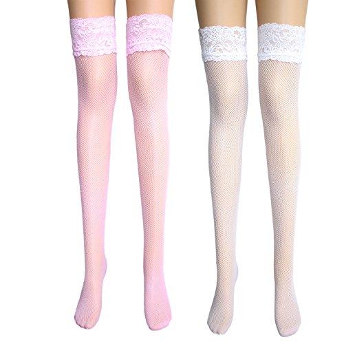 damas antideslizantes medias de red con ancho de encaje costura trasera encima de la rodilla medias de liga con rayas de silicona antideslizante blanco+ Bebé rosa