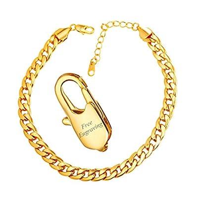 U7 Barefoot Jewelry Cuban Chain Anklet Girls Women Foot Bracelet, 25-30 cm Long