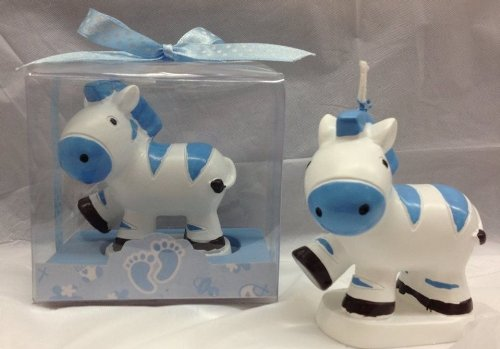 5 Zebra Candle Blue Favors Decoration Birthday or Baby Shower Jungle Safari Party -