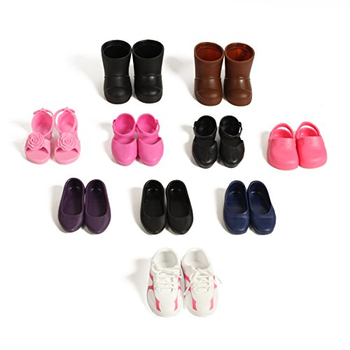 Beverly Hills Doll Collection 10 Pairs Of Shoes Fits 18'' Doll 18 Doll Shoes